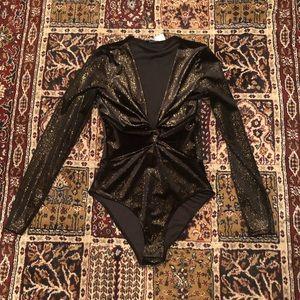 Black & Gold Shiny Velvet Longsleeve Top Bodysuit
